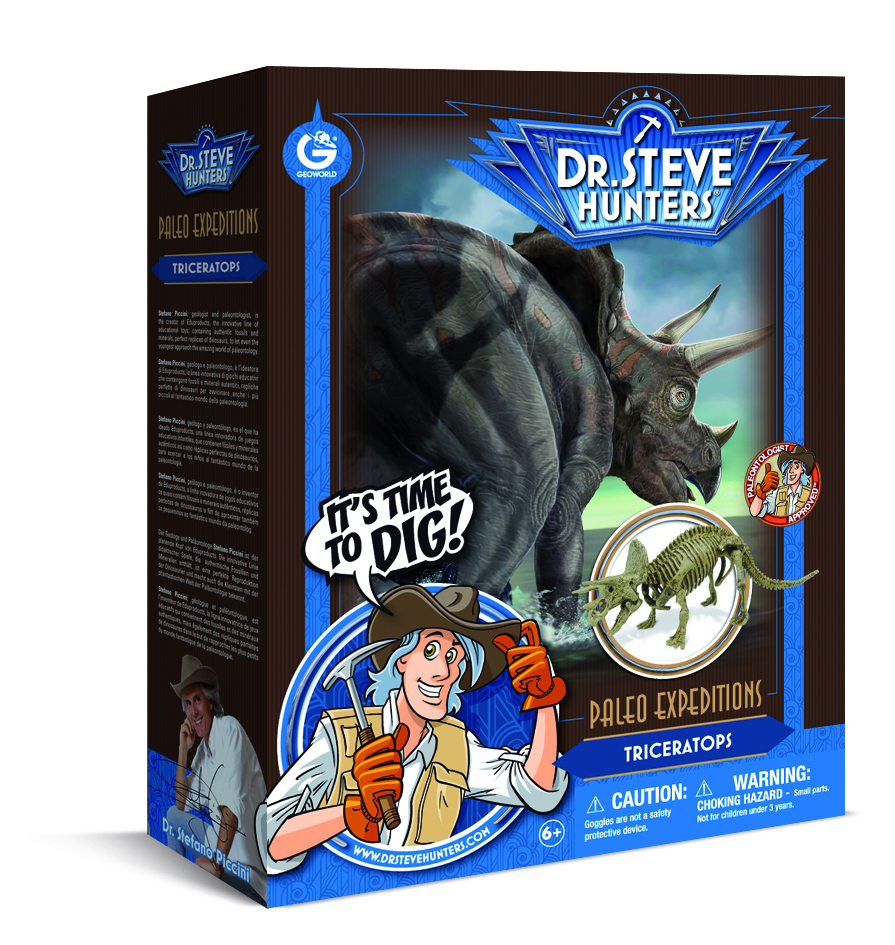 Dr. Steve Hunters - Paleo Expedition Dino Dig Excavation Kit - Triceratops - 12 pieces - Uncle Milton Scientific Educational Toy