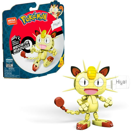 Mega Construx Pokemon Meowth Construction Set with character figures, Building Toys for Kids (169 Pieces)