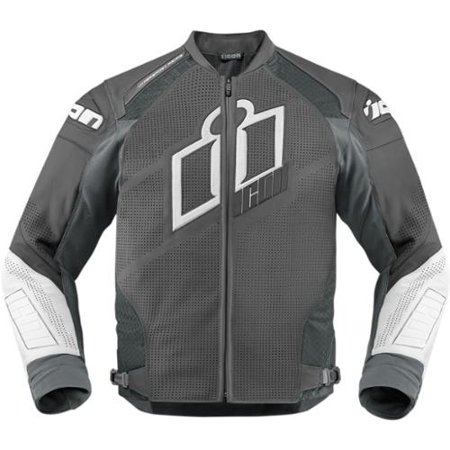 Icon Hypersport Prime Mens Leather Jacket Gray