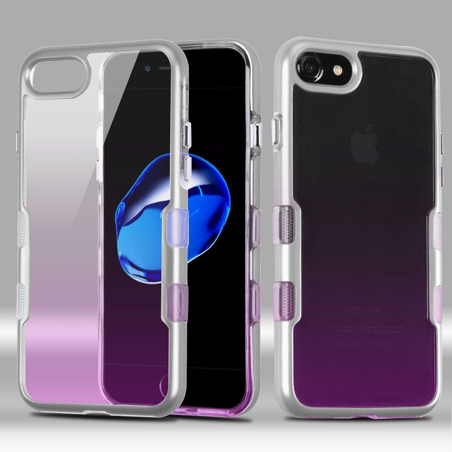 iPhone 8 Case, iPhone 7 Case, by Insten Tuff Dual Layer [Shock Absorbing] Hybrid Crystal Hard Plastic/Soft TPU Rubber Case Cover For Apple iPhone 8 / iPhone 7, Purple/Silver