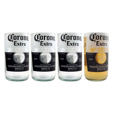KIT-Corona Extra Recycled Beer Bottle Drinking Glass - 10 oz - Set of 4