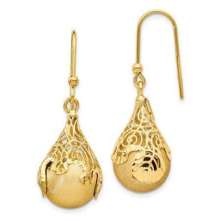 14K Yellow Gold Polished And Satin Teardrop Shepherd Hook Earrings 39X14 Mm