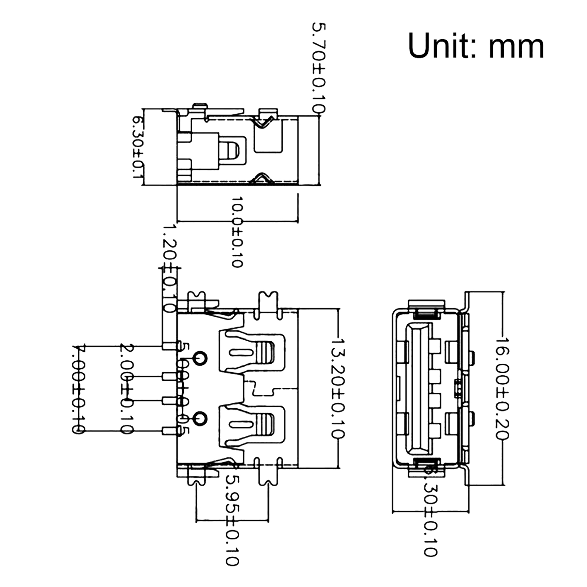 PCB USB Connector 2.0 A Type 4P 10mm Short Body SMT SMD 10pcs - image 2 of 4