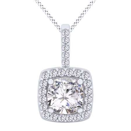 Cushion Shape White Cubic Zirconia Double Halo Pendant Necklace In 14K White Gold Over Sterling Silver