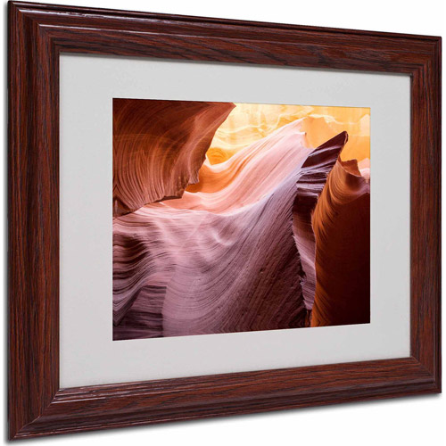 """Trademark Fine Art """"The Lower Wave II"""" Matted Framed Art by Moises Levy, Wood Frame"""