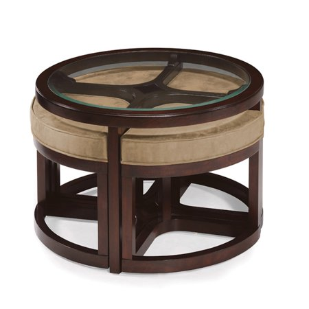 Magnussen juniper wood round cocktail table with 4 stools for Round cocktail table with stools