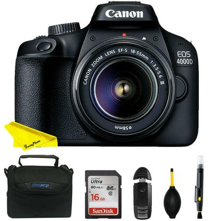 Canon EOS 4000D DSLR Camera EF-S 18-55 mm f/3.5-5.6 III Lens + Buzz-Photo Starter Kit