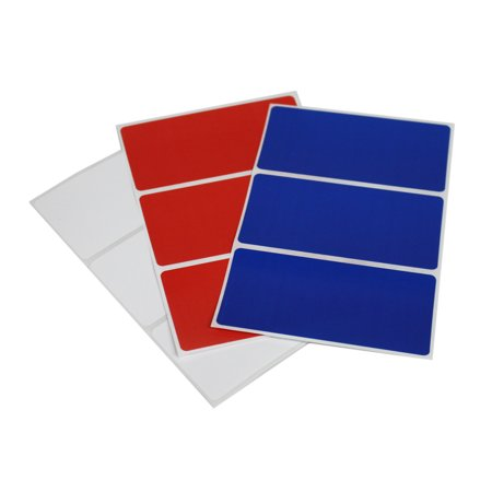 Red, White and Blue rectangular labels 4x2 perfect for party favor tags, 4th of July all American - 36 pack by Royal Green - Party Of America