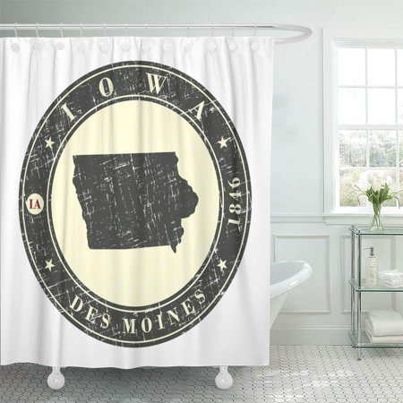 PKNMT Vintage Stamp with Map of Iowa Badge with The Name State Year Creation Contour Bathroom Shower Curtains 60x72 inch
