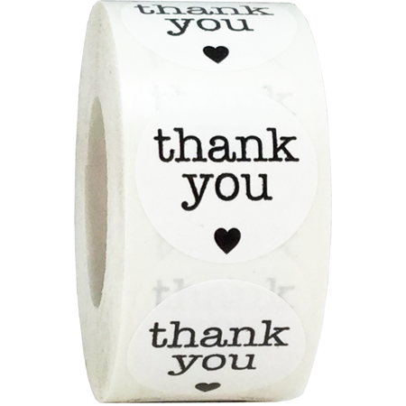 White with Black Thank You Stickers, 1 Inch Round, 500 Total Labels on a Roll (Personalized Thank You Stickers)
