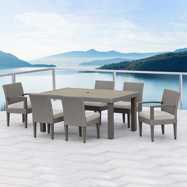 Ove Decors Sutton Ii 7 Piece Aluminum Frame Grey Rectangular Patio Dining Set With Light Grey Olefin Acrylic Cushions Walmart Com Walmart Com