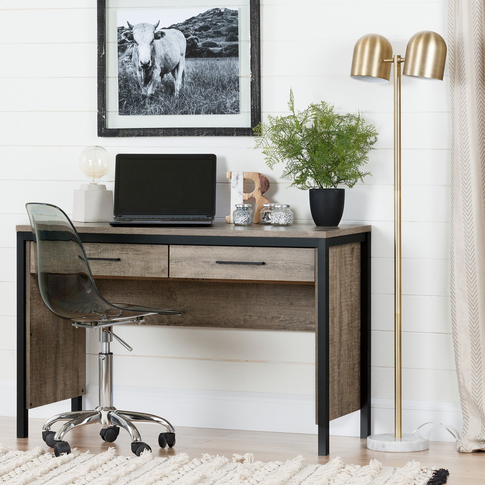 South Shore Munich Desk with Drawers, Weathered Oak and Matte Black