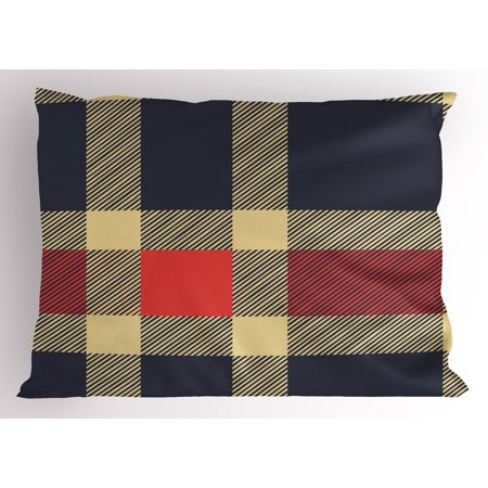 Checkered Pillow Sham Vintage Plaid Tartan Pattern Design Retro Display Checks Cross Lines, Decorative Standard Size Printed Pillowcase, 26 X 20 Inches, Dark Blue Coral Cream, by Ambesonne