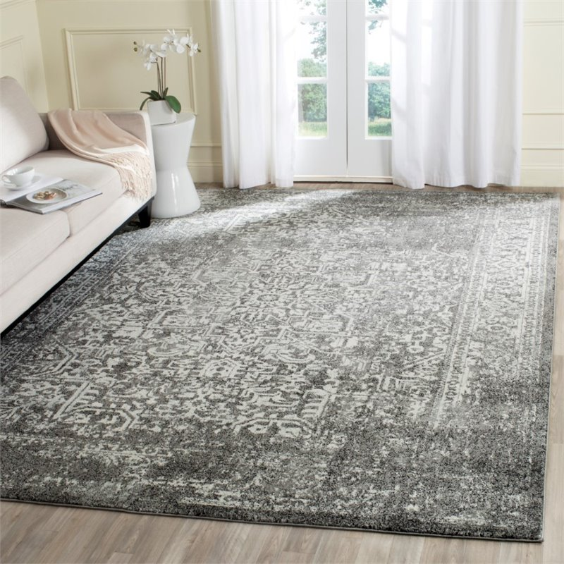 """Safavieh Evoke 5'1"""" X 7'6"""" Power Loomed Rug in Gray and Ivory - image 1 of 7"""