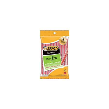 (2 Pack) BIC Round Stic Xtra Life Ballpoint Pen, Medium Point (1.0mm), Red, 10 Count