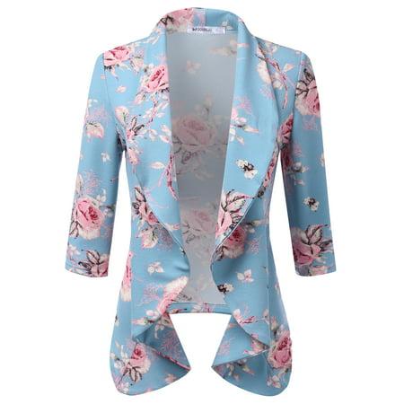 aea56225048 Doublju - Doublju Women s Casual Work Office Open Front Blazer Cardigan  Jacket SAGEPINK 2X Plus Size - Walmart.com