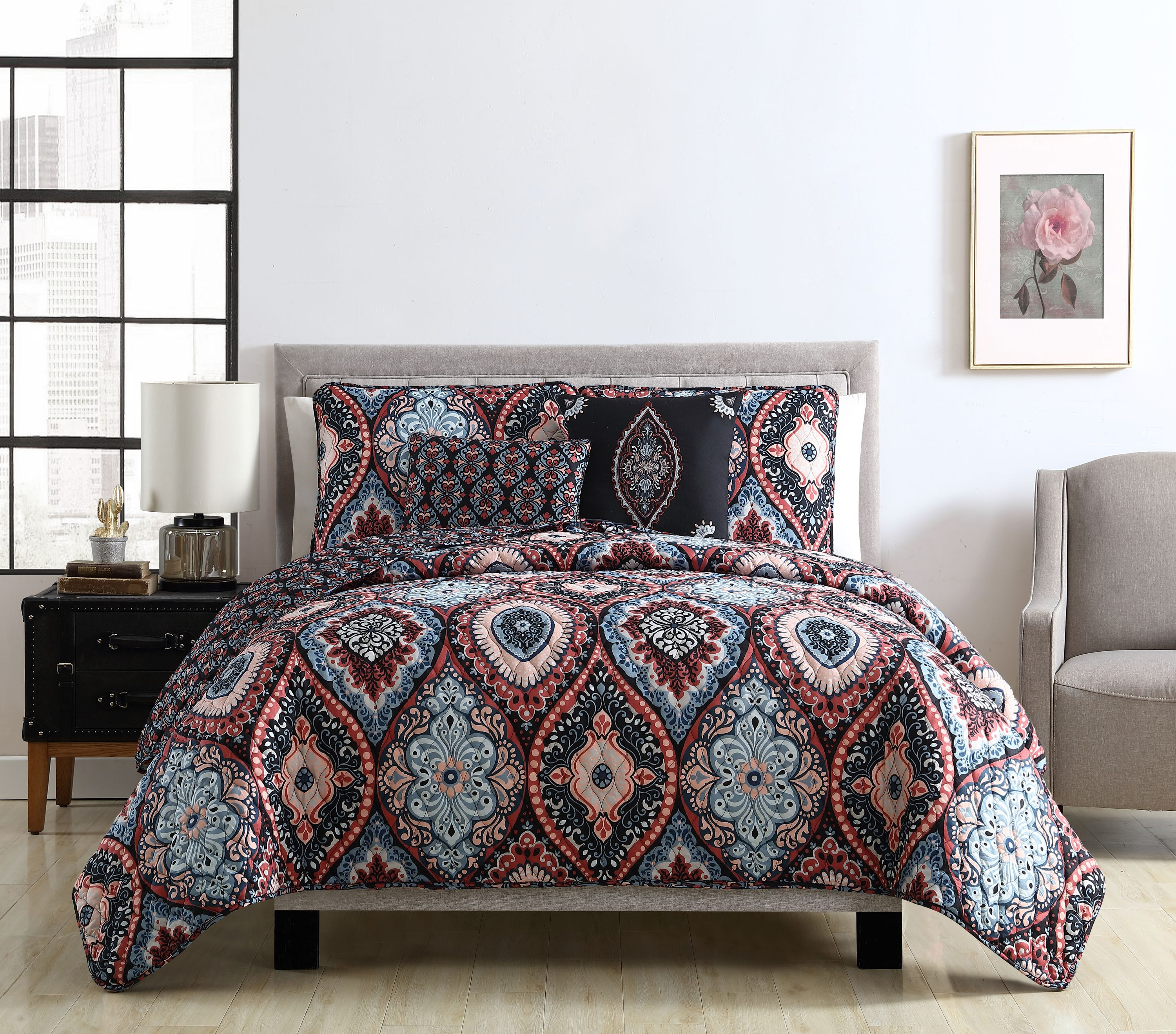 VCNY Home Coria Ogee Reversible Quilt Set, Full Queen, Burgundy Blue by VCNY Home