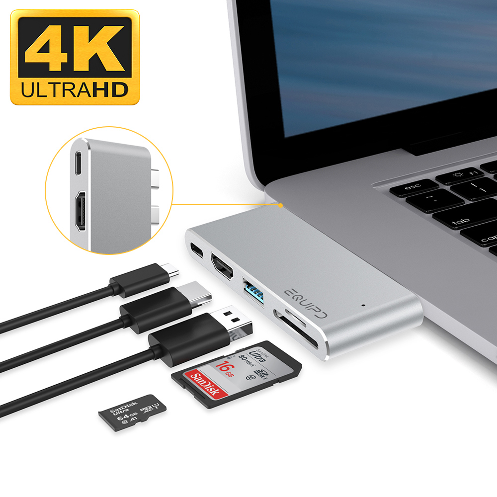 "USB C Hub For MacBook Pro 13"" & 15"" 2016/2017, EQUIPD Aluminum Type C to 4K HDMI Combo Hub Adapter, Charging port, Thunderbolt 3 port, MicroSD/SDHC/SDXC Card Reader, USB 3.0 Port, USB-C port - Silver"