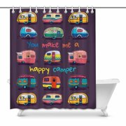 MKHERT Funny You Make Me Happy Camper Motivational Quote with Retro Caravans House Decor Shower Curtain for Fabric Bath Curtain Set 60x72 inch