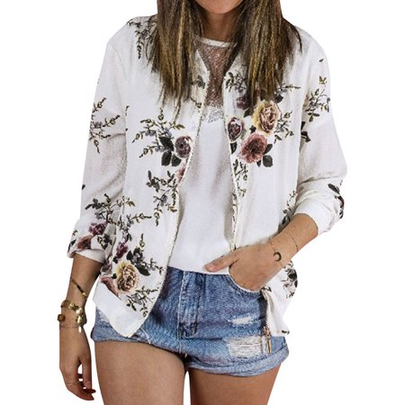 Nlife Women Long Sleeve Floral Print Zipper Bomber Jacket - Red Zipper Jacket