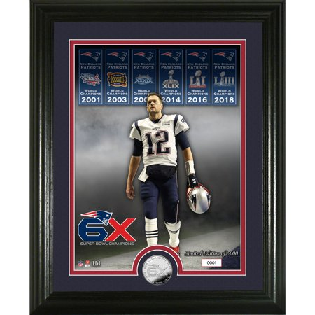 Highland Mint Super Bowl Coin (Tom Brady New England Patriots Highland Mint 6-Time Super Bowl Champions 13'' x 16'' Silver Coin Photo Mint - No Size )