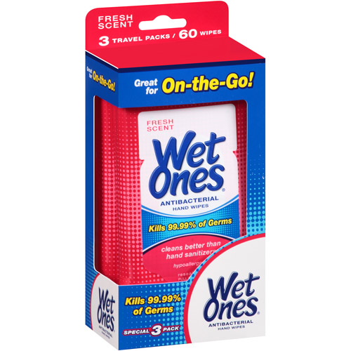 Wet Ones Fresh Scent Antibacterial Hand Wipes, 20 sheets, 3 count