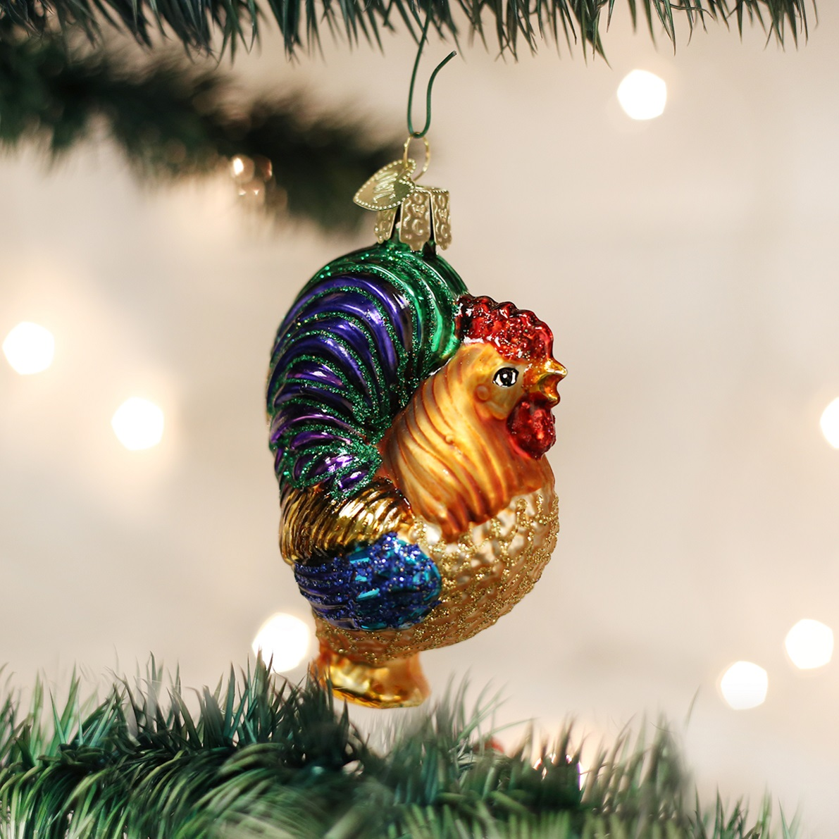 Old World Christmas Rooster Bird Glass Tree Ornament Chicken 16006 FREE BOX New