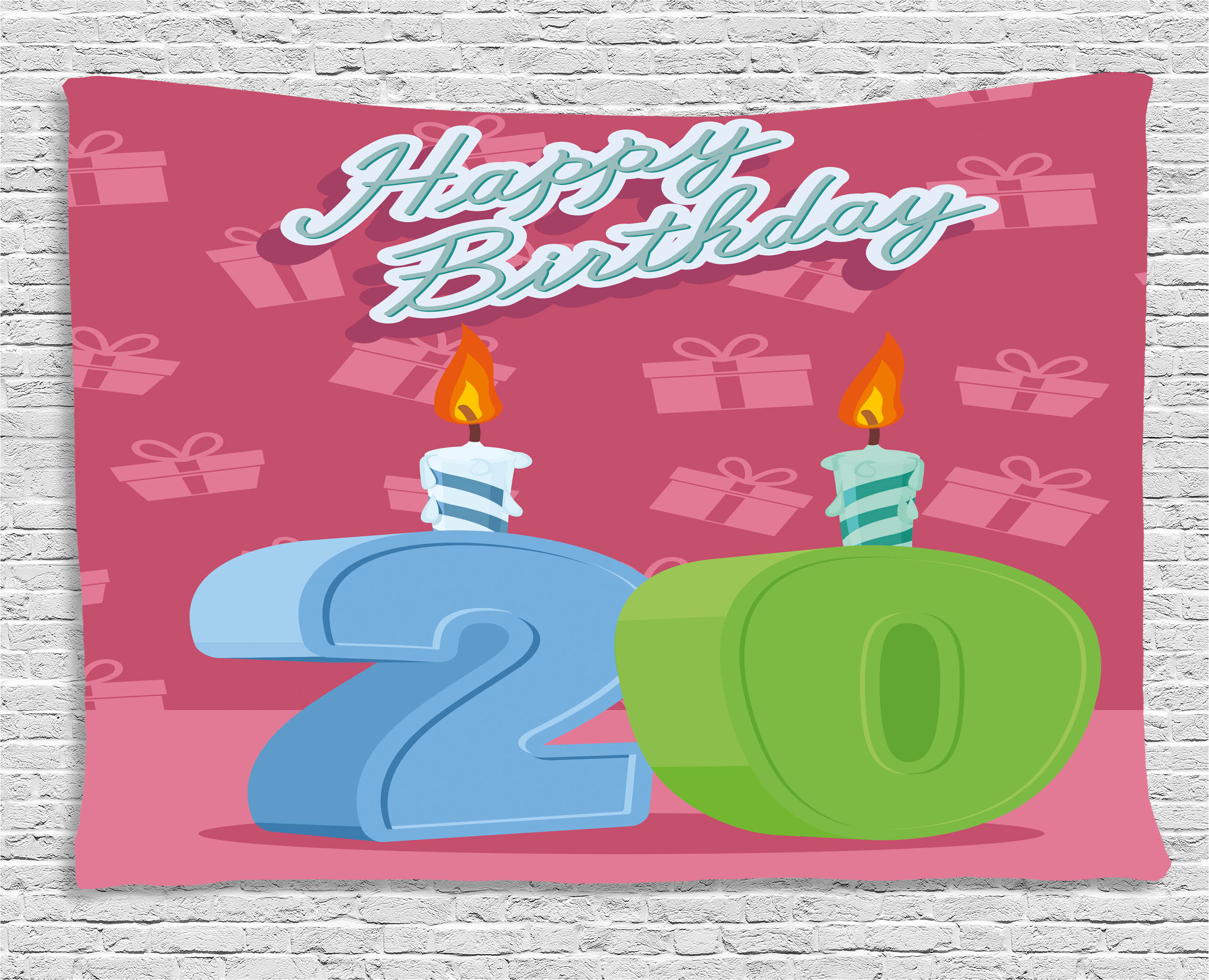 20th Birthday Decorations Tapestry Party Theme Lettering On Pink Backdrop Wall Hanging For Bedroom Living Room Dorm Decor 60W X 40L Inches