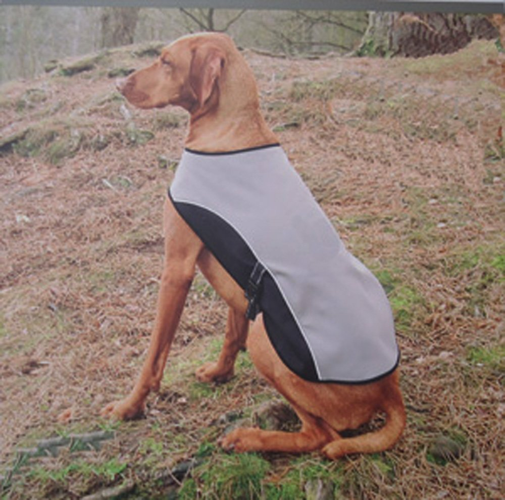 Waterproof Windproof Reflective Dog Rambler Coat w/ Fleece Lined Blanket, Medium, Gray, Water resistant, windproof and breathable By Pool Supply Town