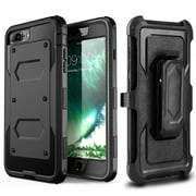iPhone 8 Plus / iPhone 7 Plus Case, Mignova Heavy Duty Protective Case with Kickstand, Build-in Screen Protector and Belt Swivel Clip for Apple iPhone 8 Plus / iPhone 7 Plus 5.5 inch (Black)