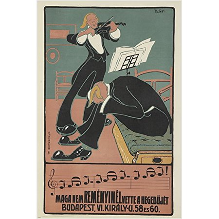 Vintage Music Poster From Budapest Unique Style Tuxedos Classical 24X36