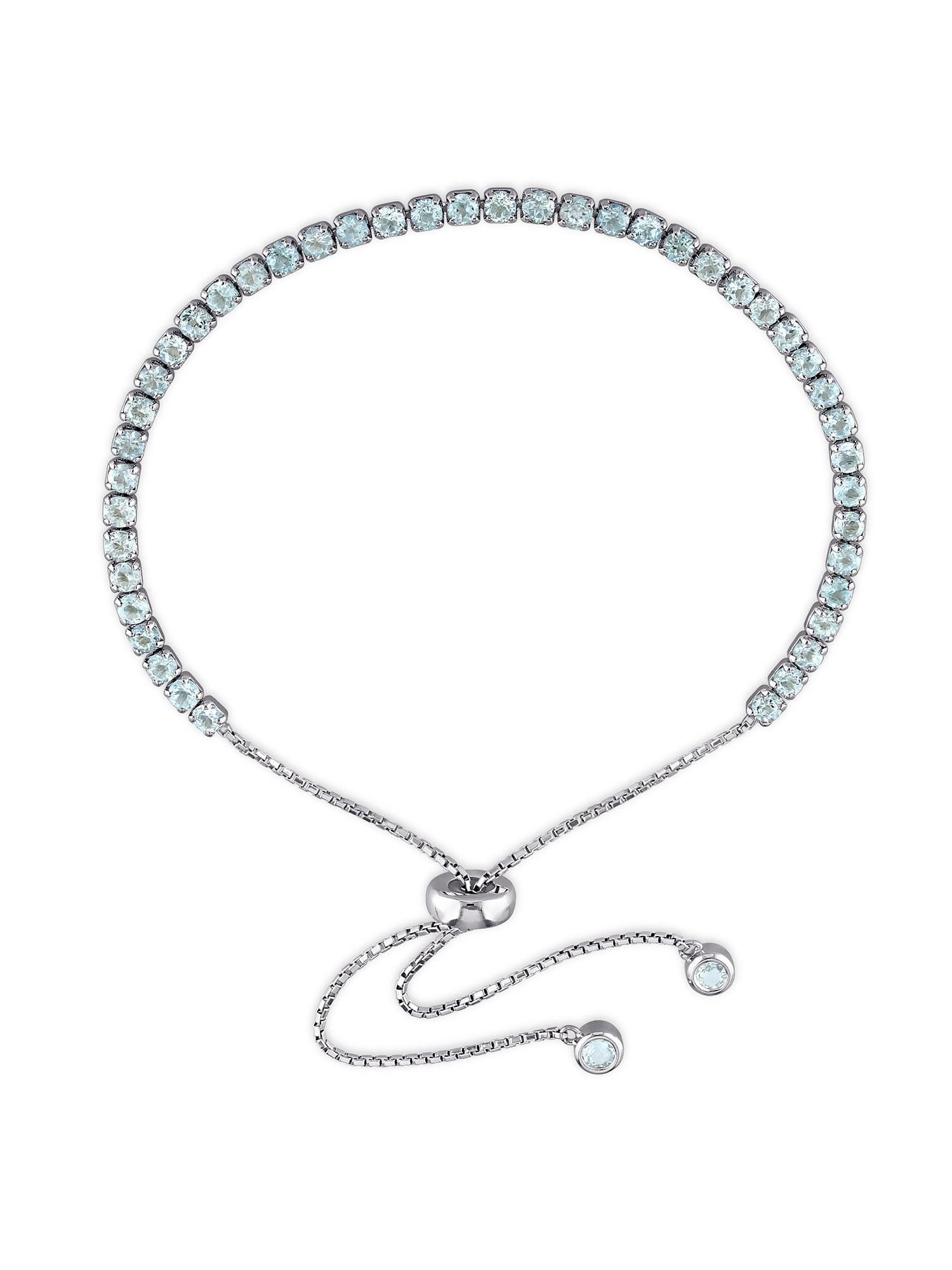 """Tangelo 3-3 4 Carat T.G.W. Blue Topaz Sterling Silver Adjustable Tassel Bracelet, 10"""" by Tangelo"""