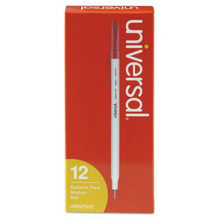 Universal Office Products 27412 Medium Economy Ballpoint Stick Oil-Based Pen, Red Ink -