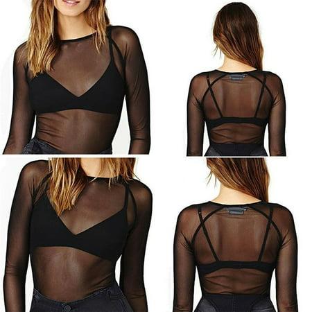 Women Hollow Mesh Net T-Shirt Long Sleeve Tee Tops Transparent Slim Blouse S-XL New