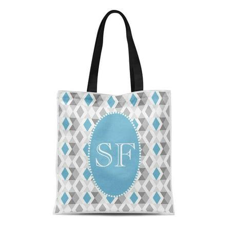 SIDONKU Canvas Tote Bag Modern Funky Blue Gray Diamond Monogram Simple Customise Pretty Reusable Handbag Shoulder Grocery Shopping Bags (Modern Diamond Monogram)