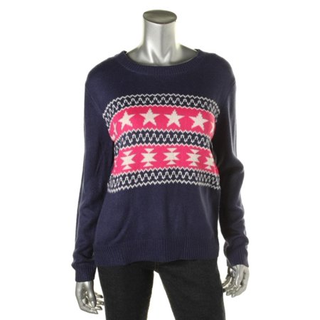Confess Womens Knit Fair Isle Pullover Sweater