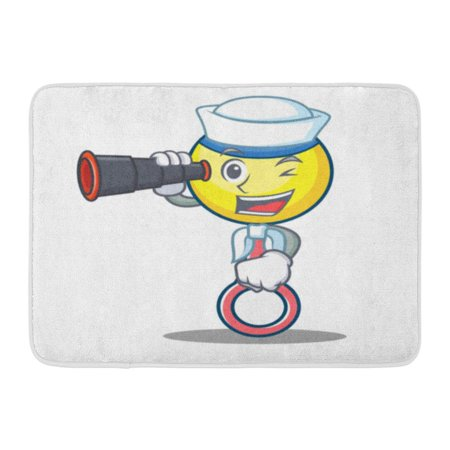 GODPOK Ball Arrival Sailor with Binocular Rattle Toy Mascot Cartoon Baby Bib Rug Doormat Bath Mat 23.6x15.7 inch