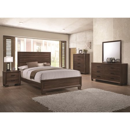 Bedroom furniture medium brown eastern king size bed panel - King size bedroom set with mirror headboard ...