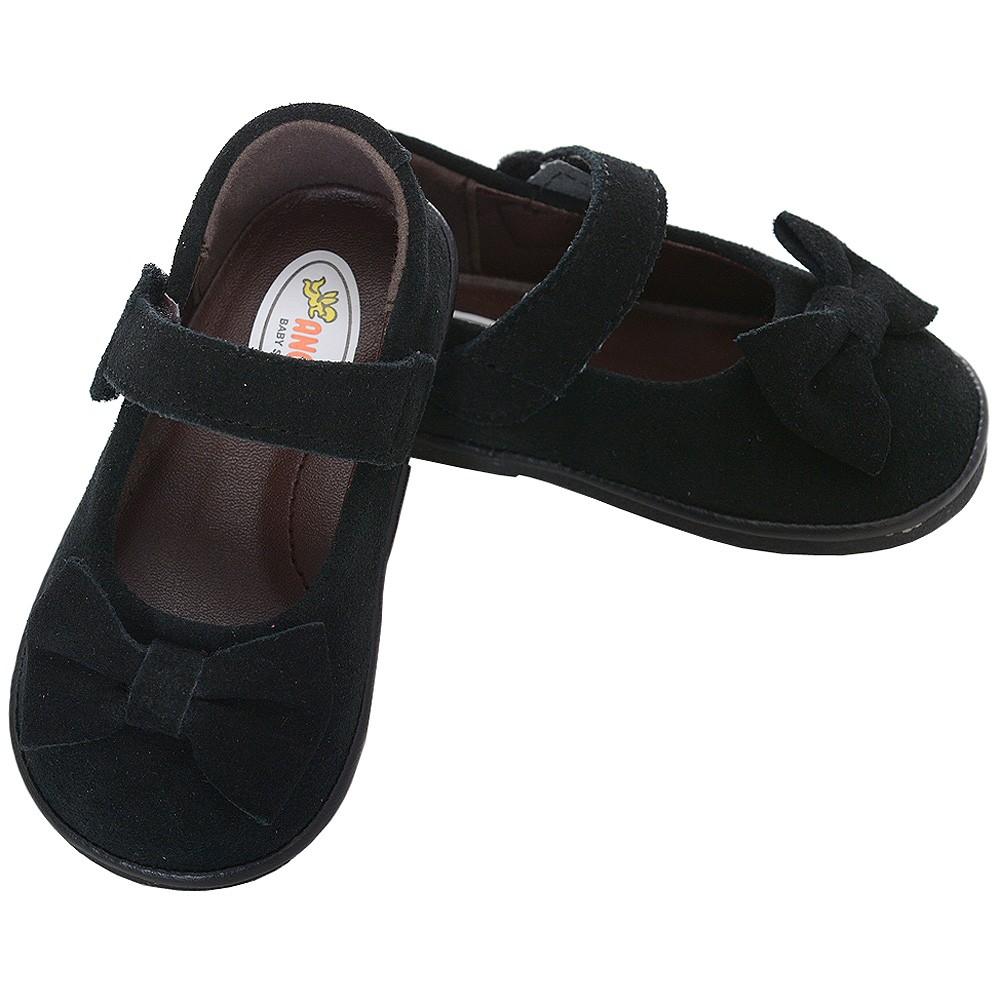 Angel Baby Black Velvet Bow Heart Mary Jane Shoes Toddler