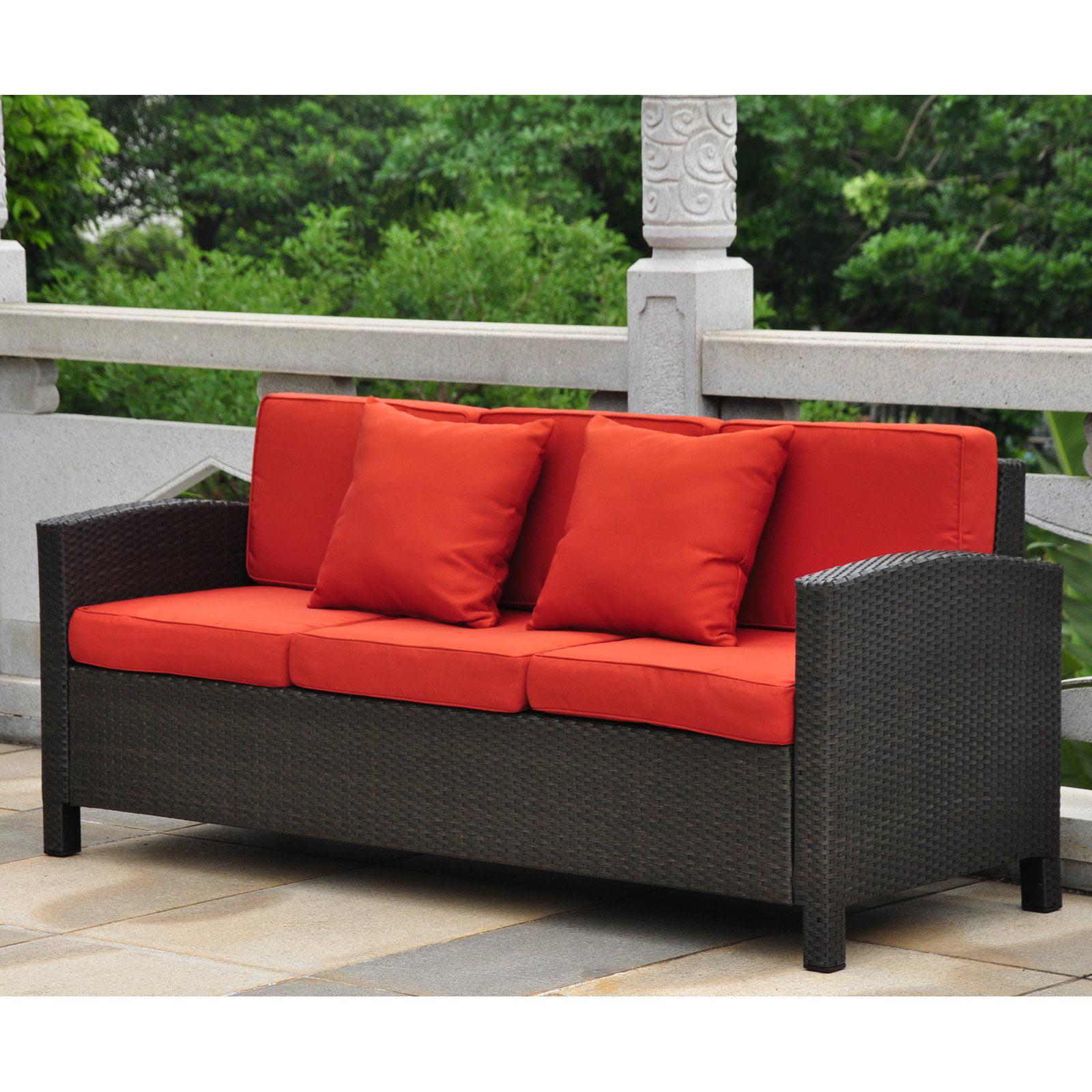 International Caravan Barcelona Resin Wicker Patio Sofa with Cushions by International Caravan & Blazing Needles Inc