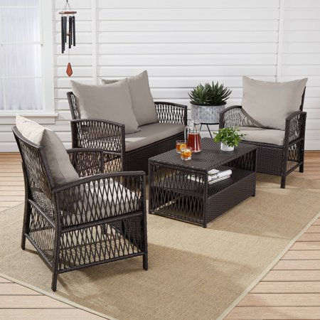 Mainstays Sanza Conversation Steel Patio Furniture Set, Mocha, 4-Piece