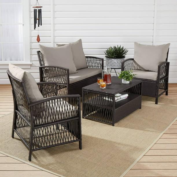 Mainstays Sanza Rattan 13-Piece Wicker Patio Furniture Conversation Set,  Beige