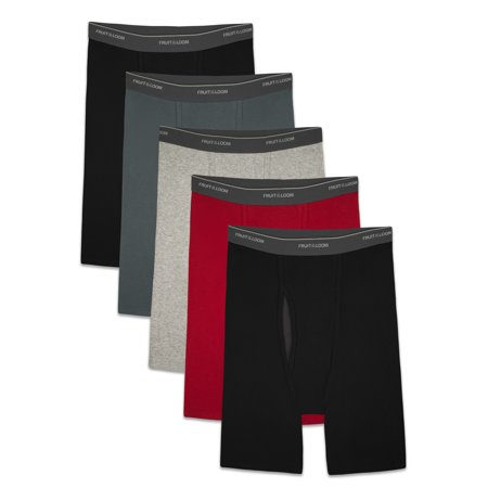 Fruit of the Loom Men's CoolZone Fly Dual Defense Assorted Long Leg Leg Boxer Briefs, 5 Pack (Mens Long Rise Boxer Briefs)