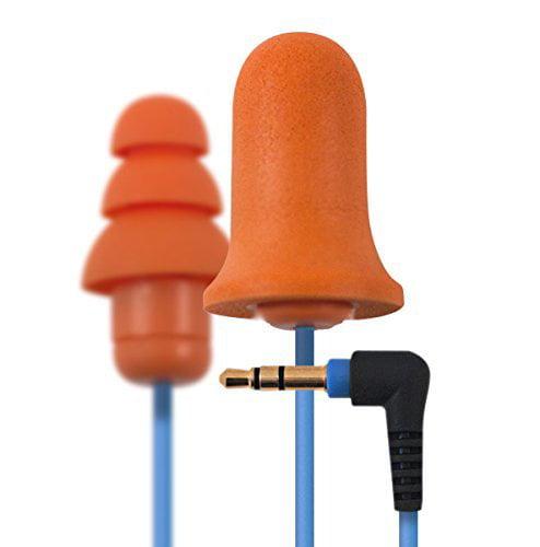 Plugfones Wired Earphone, 54 In L, Foam/Silicon Tip, Light Blue/Orange