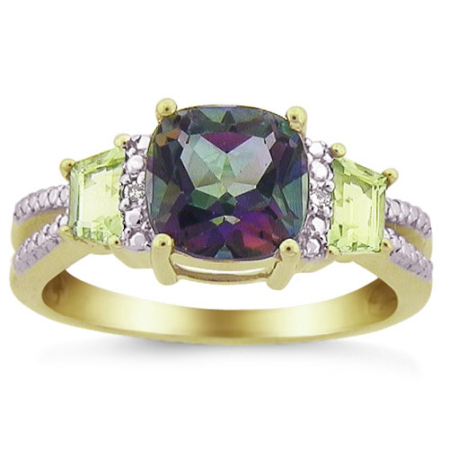 Mystic Fire Topaz and Peridot Ring with Diamond Accents