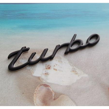 (Metal Black TURBO Logo Emblem Badge Sticker Porsche 911)