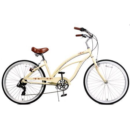 Fito Marina Aluminum Alloy 7-speed beach cruiser bike for women – Vanilla
