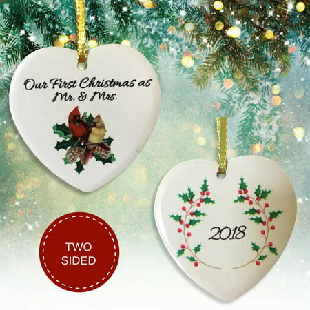 Our First Christmas as Mr. and Mrs. - 2018 Dated Cardinal Christmas - Annual Dated Ornament