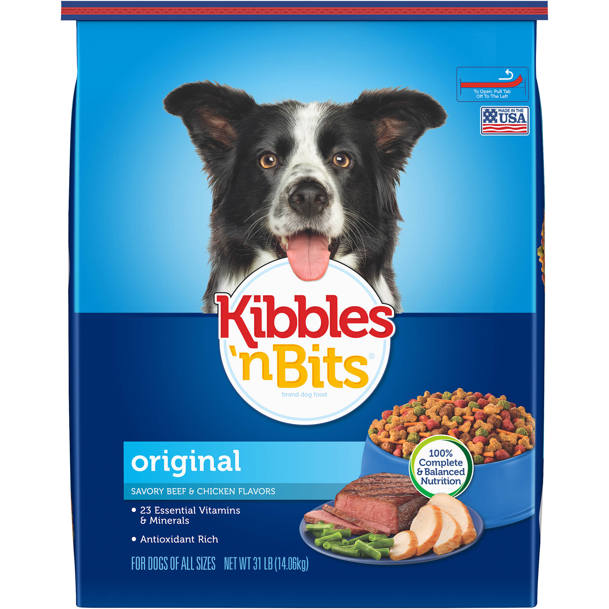 Kibbles 'n Bits Original Savory Beef and Chicken Flavors Dry Dog Food, 31-Pound