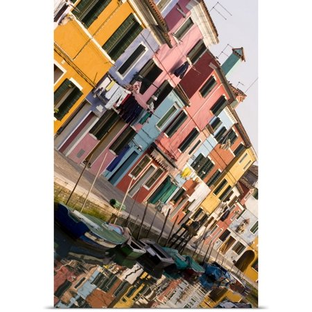 Great Big Canvas Wendy Kaveney Poster Print Entitled Italy  Venice  Burano  Tilted View Of Colorful Houses And Their Reflections On A